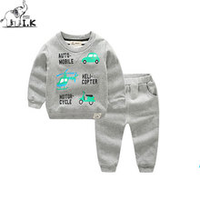 I.K Boys Sport Tracksuit Kids Baby Warm Suits With Cartoon Car Printing Children Winter Clothing Sets Sportwear Costume AS1011(China)