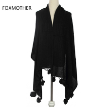 FOXMOTHER 2017 New Winter Fashion Black Beige Red Plain Color Cashmere Shawl Wrap Scarf With Fur Pompom(China)