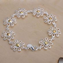 Christmas gift 2016 New 925 jewelry silver plated Fashion Jewelry Separations daisy bracelets&bangle,Wholesale jewelry SMTH069