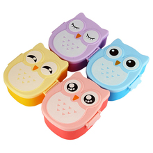 4 Colors Cartoon Owl Plastic Lunch boxs Bento Lunch Boxs Food Fruit Storage Container Microwave Cutlery Set Children Gift(China)