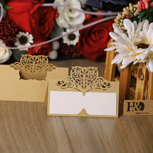 H&D 12pcs/set  Laser Cut Crown Shape Table Name Card Place Card Wedding Party Decoration Favor (Beige Gold)