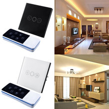 1 Gang Light Lamp Home Office Touch Sensor Switch Remote Efficient Dimmer White Crystal Glass Panel EU