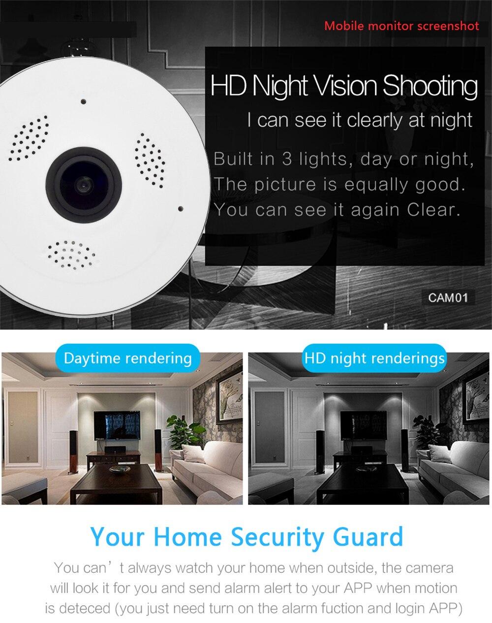 Wistino CCTV HD 960P WIFI IP Camera Alarm Wireless VR Panoramic Camera Fisheye 360 Degree Video Baby Monitor Home Surveillance (4)