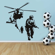Free Shipping Military Style Huge Helicopter Wall Sticker Cool Marine Home Livingroom Art Decor Special Vinyl Wall Decals Poster