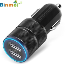 Factory price New Mini Dual USB UTwin Port 12V niversal In Car 2.1A/24W 2-Port Smart USB Quick Charge Car Charger Free Shipping