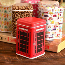 Creative Telephone Booth Tank Storage Box Metal Candy Trinket Tin Jewelry Iron Tea Coin Storage Square Box Case organizer