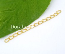 8SEASONS 100 PCs gold-color Extended&Extension Jewelry Chains/Tail Extender 50x3mm (B04931)