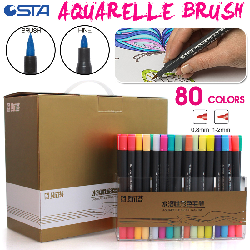 Bianyo 80 Colors Water Based Ink Twin Tip Brush Fi...