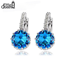 Effie Queen Blue AAA Austria Zircon Stud Earring Fashion  Style for Ladies Engagement Small Earring Stud Jewelry WE89