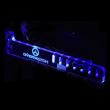 Blue OVERWATCH Cool LED Luminous Computer Office Main Box HIS Graphics Cards Custom Support Frame Display Card Components Jack