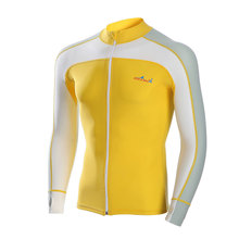 2017 Letter Long Sleeve Zipper Surf Swim Rash Guard Swimwear Men Yellow Rashguard Diving Tops Man Sun-Protective Sports Shirt