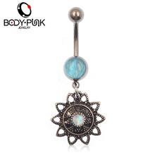 BODY PUNERetro Sunflower Blue Opal Pearl Dangle Piercing Belly Button Rings For Women Body Piercing Navel Fashion Jewelry NR 086