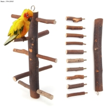 Funny Parrot Bird Wooden Rotate Ladder Stand Play Toys Hamster Cage Climbing(China)