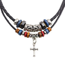 Bohemian Multilayer Wood Beads Alloy Cross Charms Pendant Necklace Leather Chain For Women Men Jewelry(China)