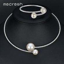 Mecresh Simple Simulated Pearl Bridal Jewelry Sets Crystal Fashion Wedding Jewelry Necklace Bracelet Sets for Women MTL415(China)