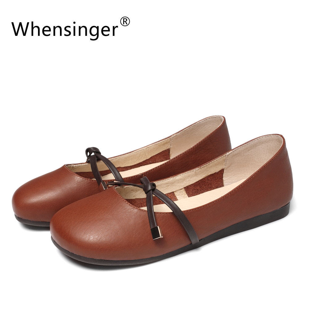 Whensinger - 2018 New Women Shoes Genuine Leather Handmade Flats Round Toe 3037<br>