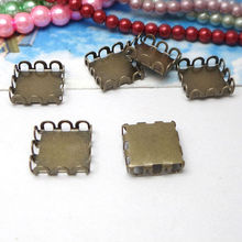 20X with inner 12mm Wholesale Antique Bronze Pendant Blanks Square Bezel Setting TRAY for Cameo Cabochons(China)