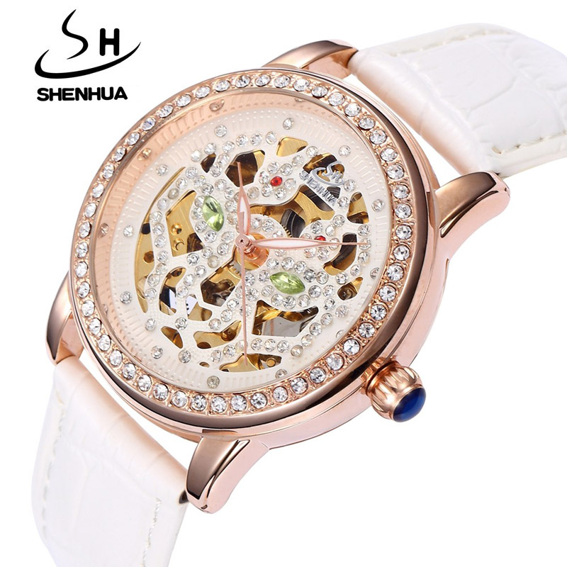 SHENHUA Famous Brand Automatic Mechanical Skeleton Watches for Women 2017 Fashion Ladies Rhinestone Watches Relogio Feminino<br><br>Aliexpress
