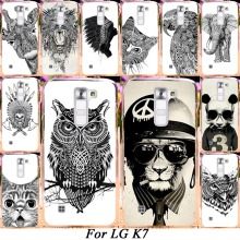 Silicone Plastic Mobile Phone Case For LG K7 LTE Tribute 5 LS675 Q7 LTE MS330 5'' Dual SIM K7 M1 Cover Black White Animals Shell