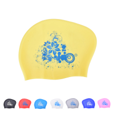 8 Colors Waterproof Elastic waterproof ear protection Swim cap Hat Cover for long hair adults Women Silicone Swimming Cap(China)