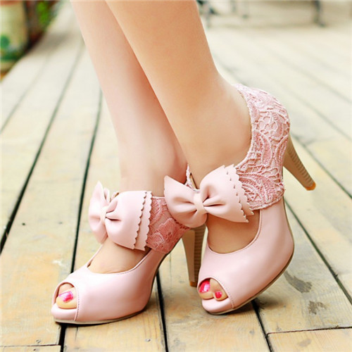 New 2017 High Quality Women Cut-Outs Sandals Pumps,Bow Knot Peep Toe Fashion Stilettos,Sweet Lace Shoes Mary Janes,Sexy Footwear<br><br>Aliexpress