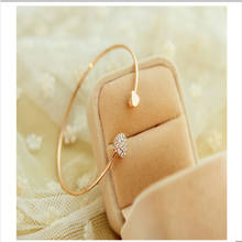 New Exquisite Crystal Elegant Temperament Female Jewelry Heart Bangle Rhinestone Silver Gold Friend Birthday Gifts Ns53