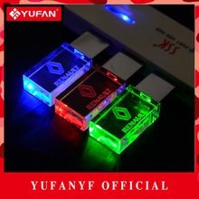 YUFANYF 2017 pendrive 3 colors Red / blue / green LED Renault car LOGO USB falsh drive 4GB 8GB 16GB 32GB U Disk crystal gift