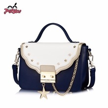 JUST STAR Women's Leather Handbags Ladies Fashion Lock Five Star Rivet Tote Purse Female Chains Patchwork Flap Messenger Bags(China)