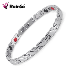 Rainso New Jewelry Women's 4 Health Care Elements(Magnetic,FIR,Germanium,Negative ions) 316L Stainless Steel Bracelet  OSB-1550