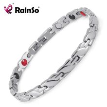 Rainso New Jewelry Women's 4 Health Care Elements (Magnetic,FIR,Germanium,Negative ions) 316L Stainless Steel Bracelet OSB-1550(China)