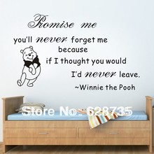"hot selling on ebay free shipping,Winnie The Pooh ""romise me you'll never forget me..""Vinyl Wall quote stickers for kids q0023(China)"