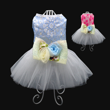 Didog Lace Pet Dog Dress Clothes Summer Tulle Skirt Bow-knot Rose Floral Princess Dresses Ropa de Cachorro For Small Dogs Cats(China)
