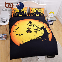 BeddingOutlet Halloween Bedding Set Black Yellow Duvet Cover with Pillowcase Quilt Cover for Gift AU SIZE Single Double Queen