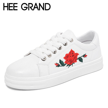 HEE GRAND 2017 Printing Creepers Platform Loafers Lace-Up Shoes Woman Solid Flowers Casual Women Flats Shoes Size 36-40 XWD5321