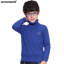 WEONEWORLD Male Children Cotton Long-Sleeve Basic Shirt Sweater Thermal Strengthen Autumn and Winter Sweater Boys Sweater