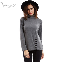 Young17 femme turtleneck t shirt Novelty slim Women Long Sleeve front lace up basic T-Shirt 2017 Spring cotton tee shirts casual