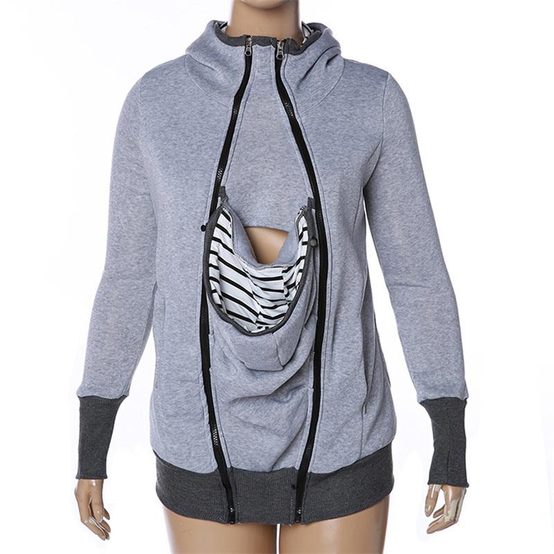 fashion style long sleeve maternity warm clothing mother autumn winter women hoddies carry baby infant sweatshirt zipper coat 9