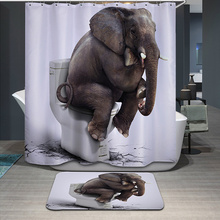 New 3D Shower Curtains Naughty Elephants Printing Spun Waterproof Washable Thickened Curtain Bathroom +12 C Type Hooks