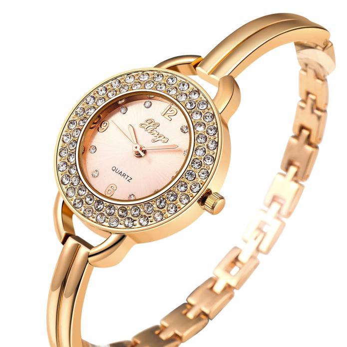 XINGE Brand Female Clock wristwatches Women Gold Rhinestone Bangle Watches<br>