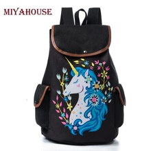 Miyahouse Unicorn Printed School Bag Drawstring Design Travel Rucksack Female Casual Cavas School Backpack For Teenage(China)