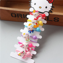 6 PCS Cute Resin Animal Hello Kitty Kids Elastic Hair Bands Baby Headdress Children Hair Ropes Girls Hair Accessories(China)