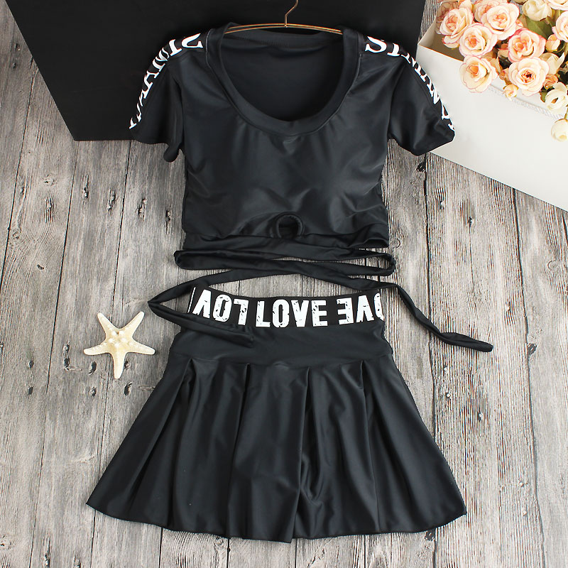 Sexy Letter Bikini Set 2017 Print Black Swimsuit Dress High Waisted Swimwear Bathing Suit skirt Beach Wear <br>