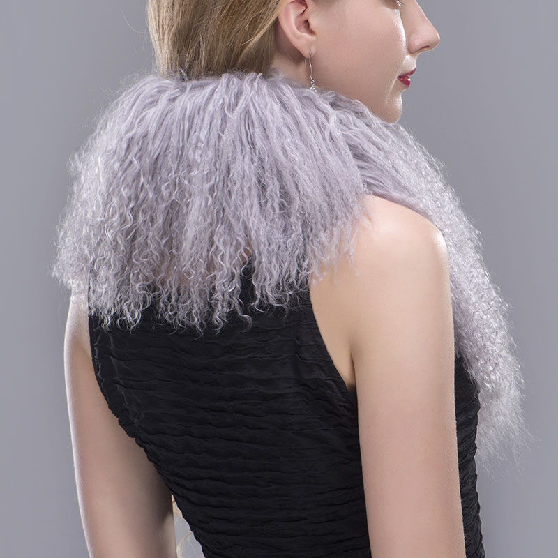 tibet lamb fur scarf grey 5