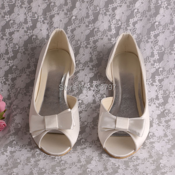 Wedopus Plus Size White Ivory Bow Bridal Shoes Bow Flat Peep Toe Ladies Wedding <br>