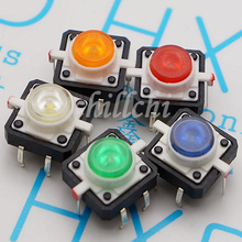 100PCS / 12*12 with blue light blue LED switch small pin 4 reset button button often fretting