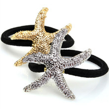 Fashion Metallic Starfish Shaped Ponytail Holder Elastic Hair Bands Rope Gum Rubber Hair Accessories For Girl Women Hair Bands