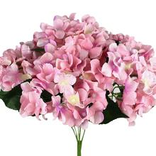 Artificial Mini Cloth Hydrangea High Simulation Fake Flowers 7 Heads Home Office Wedding Bridal Bouquet Decoration(China)
