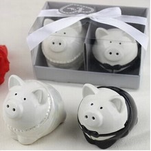 2017 new wedding favor ceramic pig Salt and Pepper Shakers bridal shower favor gifts best wedding guest souvenirs 100set/lot