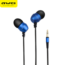 Original AWEI ES Q8 Super Deep Stereo Earphones Nylon Wired Heads In-ear Metal Earphone for Phone MP3 Players 3.5mm Jack Headset(China)