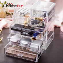 CHOICE FUN Top Selling Acrylic Makeup Storage Box Clear Cosmetic Chest Sundries Organizer Large Makeup Drawer Box SF-1549-7(China)